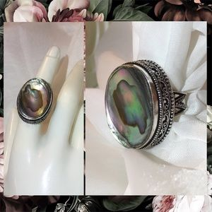 Radiant Abalone Sea Shell Gemstone Stamped Ring